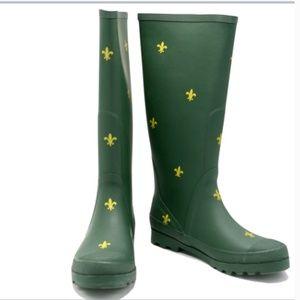 J. Crew Fleur De Lis Tall Rain Boots Wellies